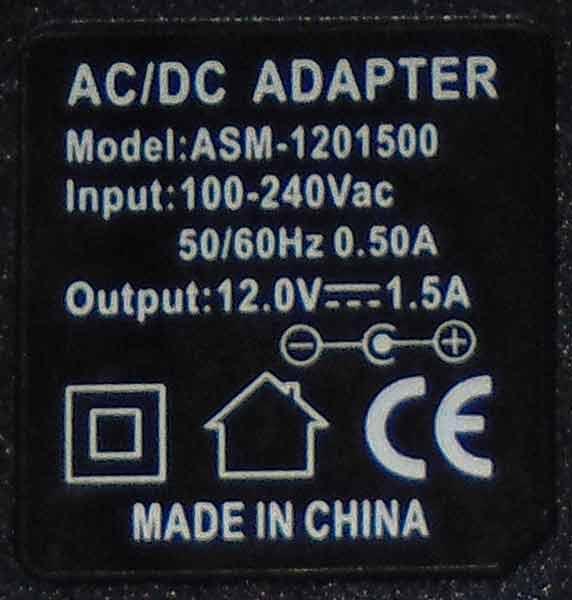ASM-1201500 этикетка на адаптере питания